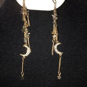 Moon & Star Fringe Earrings